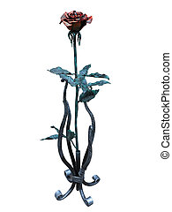 Metallic forged red rose isolated over white background