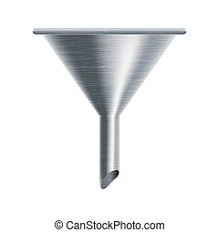 metallic funnel on white background - vector illustration