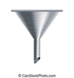 metallic funnel on white background - vector illustration