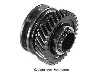 Metallic gear, isolated, on a white background