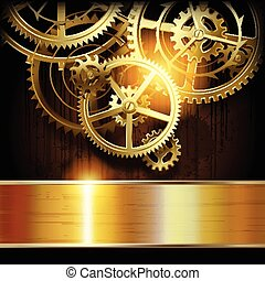 Technical background - Metallic gold banner and gear wheels...