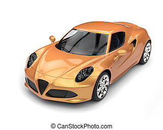 Metallic gold luxury sports car - top down view