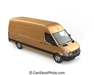Metallic gold modern delivery van - top down view