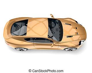 Metallic gold modern luxury sports car - top down view