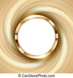 Metallic gold ring with text space and swirl light Vector Illustration