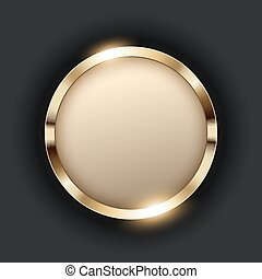 Metallic gold ring with text space on transparent textured vector illustration