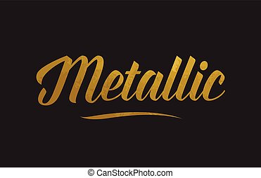 Metallic gold word text illustration typography