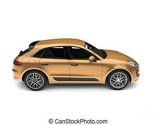 Metallic golden modern SUV - side view