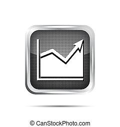 metallic graph icon on a white background