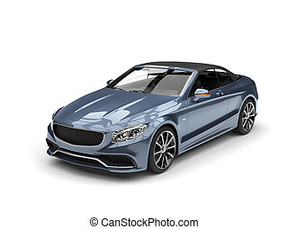 Metallic gray blue modern luxury convertible car - beauty studio shot