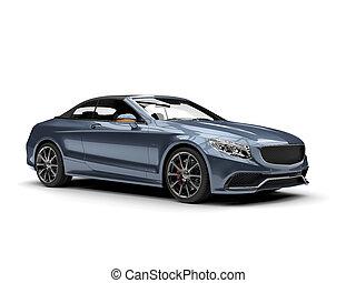 Metallic gray blue modern luxury convertible car