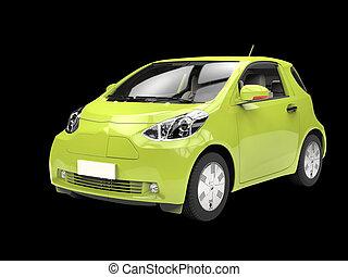Metallic green compact urban car on black background