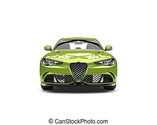 Metallic green modern fast car - front view