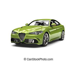 Metallic green modern fast car