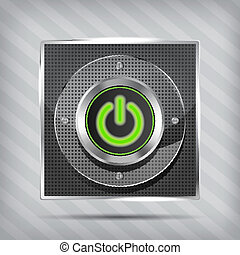 metallic green power button icon