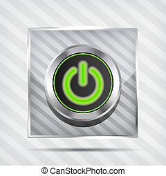 metallic green power button icon