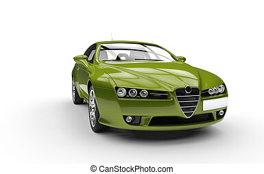 Metallic Green Sports Car