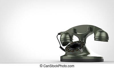 Metallic green vintage telephone - 3D Illustration