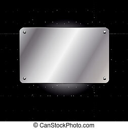 metallic grid background with plate