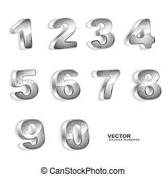 metallic grunge 3D numbers