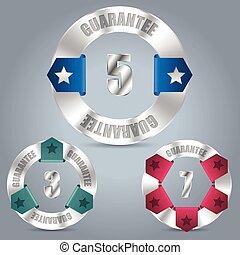 Metallic guarantee badge set with color ribbons