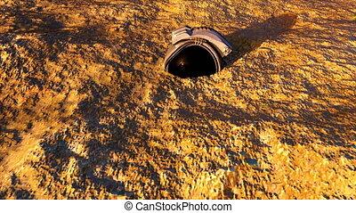 Metallic helmet of an astronaut on the sand. Lighted item. ...