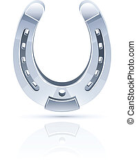 metallic horseshoe as symbol fortune vector illustration...