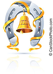 metallic horseshoe with gold bell and ribbon