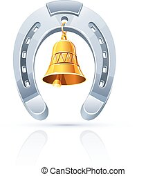 metallic horseshoe with gold bell