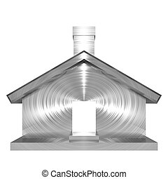 Metallic house object on white background