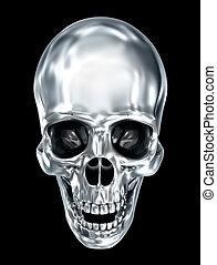 Metallic human skull over black , 3D illustration