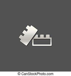 Metallic Icon - Building blocks - Building blocks icon in...