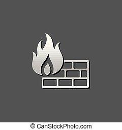 Metallic Icon - Firewall - Firewall icon in metallic grey...
