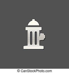 Metallic Icon - Hydrant - Hydrant icon in metallic grey...