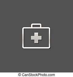 Medical case icon in metallic grey color style. Health care equipment storage