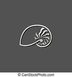 Metallic Icon - Nautilus - Nautilus icon in metallic grey...