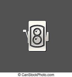 Metallic Icon - TLR camera - Twin lens reflex camera icon in...
