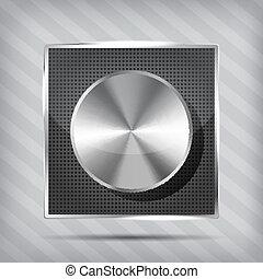metallic icon with chrome volume