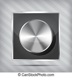 metallic icon with chrome volume knob on the striped background