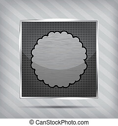 metallic icon with cloud on the striped background
