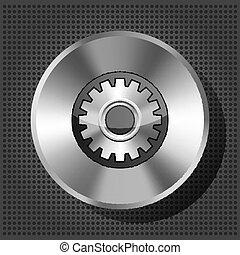 metallic icon with gear on knob
