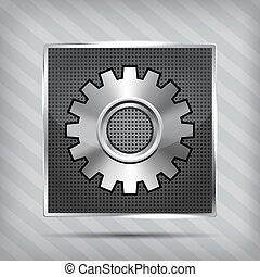 metallic icon with gear on striped background