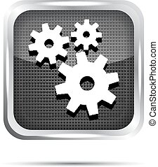metallic icon with gears on white