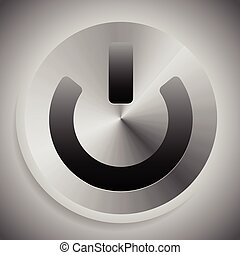 Metallic icon with power symbol, metallic power button.