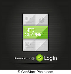 Metallic infographic with green element on black