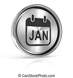 Metallic january calendar icon