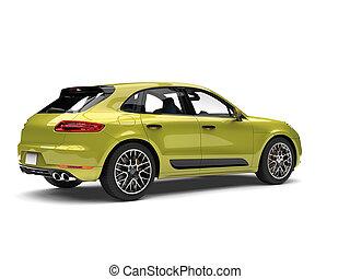 Metallic jungle green modern SUV - rear side view