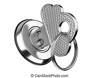 metallic key in keyhole. storage data cloud security concept...