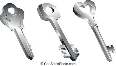 Metallic Keys - keys on white background