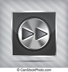 metallic knob with forward icon on the striped background